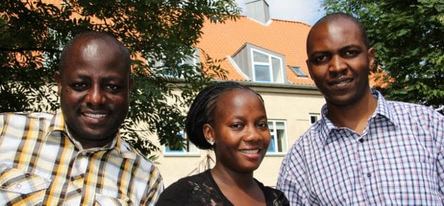 Enoch, Marris and Emmanual celebrating their new master degrees at the Danida Fellowship Centre at Frederiksberg June 2013.