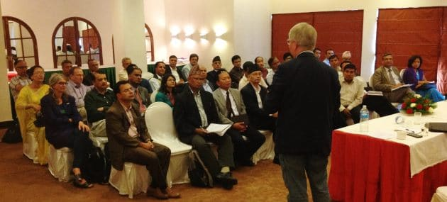 The Chairman of the Consultative Research Committee for Development Research, Prof Henrik Secher Marcussen, presents 'What constitutes a good research application?' at the workshop in Kathmandu.