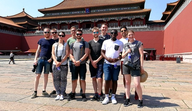 Gabriel Bampoe (3rd right) with other engineering students in the Forbidden City in Beijing while representing Denmark for Huawei´s flagship program in China.