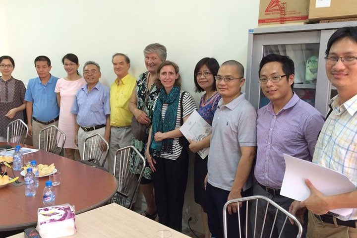 DFC project administrators meet the project team at Hanoi University of Science on 3 July 2015. Photo by project.