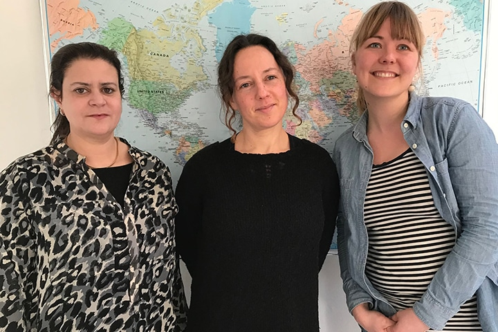 New staff. From the left: Anissa Bedoi, Project Coordinator; Shirley Pollak, Research Programme Manager; Cecilie Holdt Rude, Capacity Development Advisor