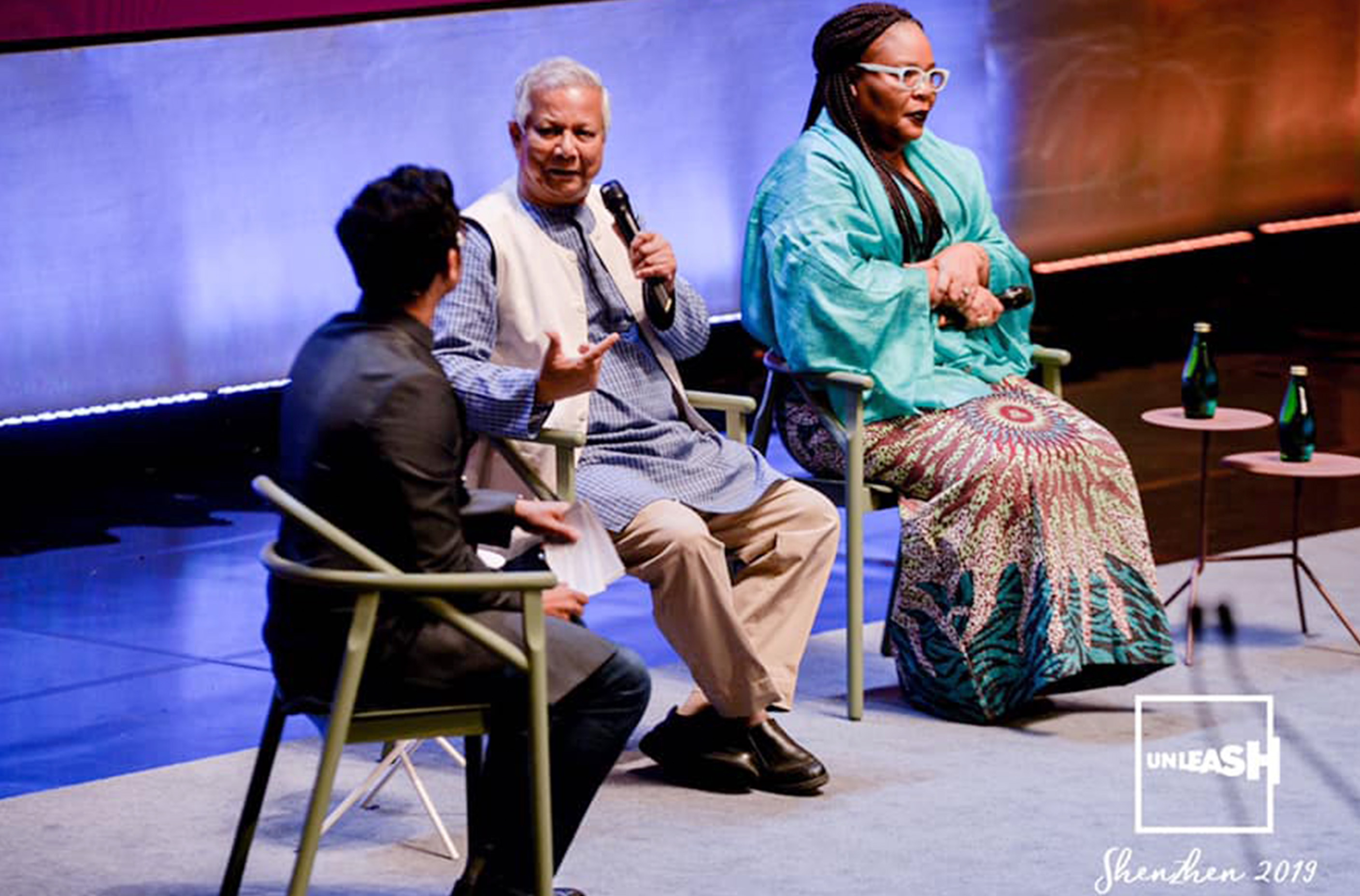 Mohammed Yunus, Bangladesh and Leymah Gbowee, Liberia respectively 2016 and 2011 Nobel Prize winners. Photo: UNLEASH