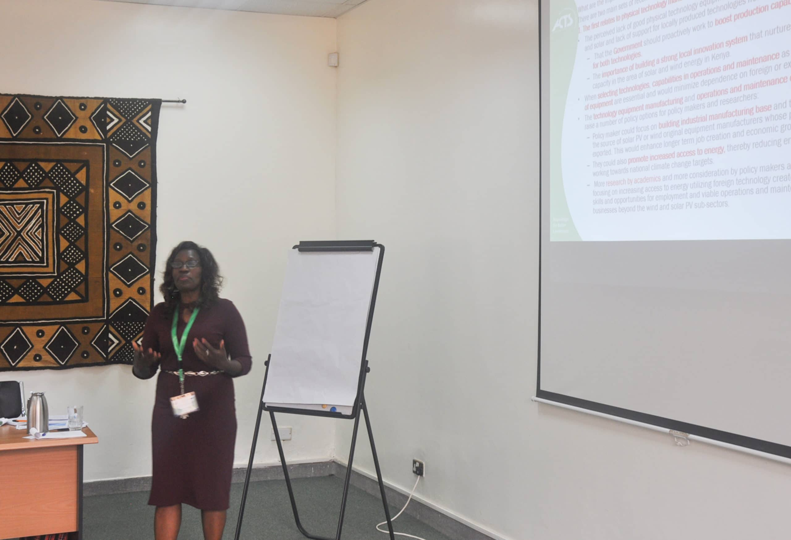 IREK researcher sharing IREK research findings with stakeholders during IREK stakeholders' workshop on 28 March 2018
