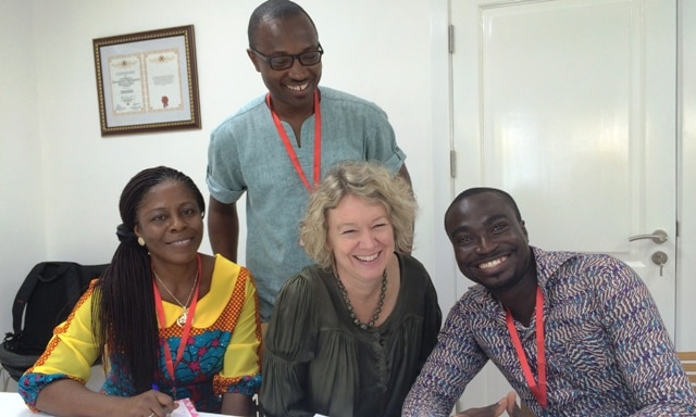 Ambassador Tove Degnbol surrounded by Vice Chairperson Margaret Owusu, Organiser John Ekow Otoo and Chairperson Enoch Yeboah Agyepong from the Danida Alumni in Ghana.