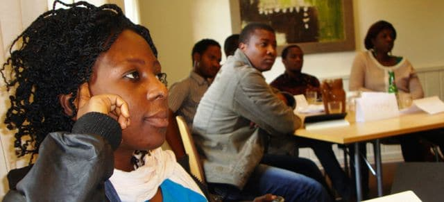 BSU master students attending a lecture in Denmark 2013.