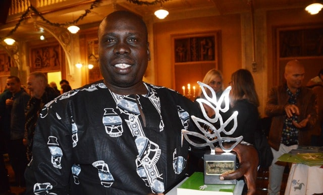 William Ongoro receiving the Livia Award 2016 in Copenhagen for 'acting bravely and wisely in the painful and violent conflicts in South Sudan'.