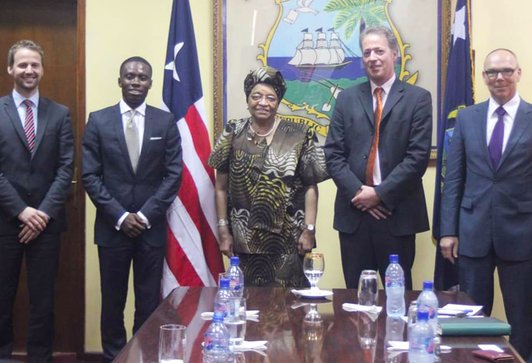 Seth meeting the former president of Liberia, H.E. Sirleaf Johnson in 2012, as representative of Philips in a Dutch business delegation