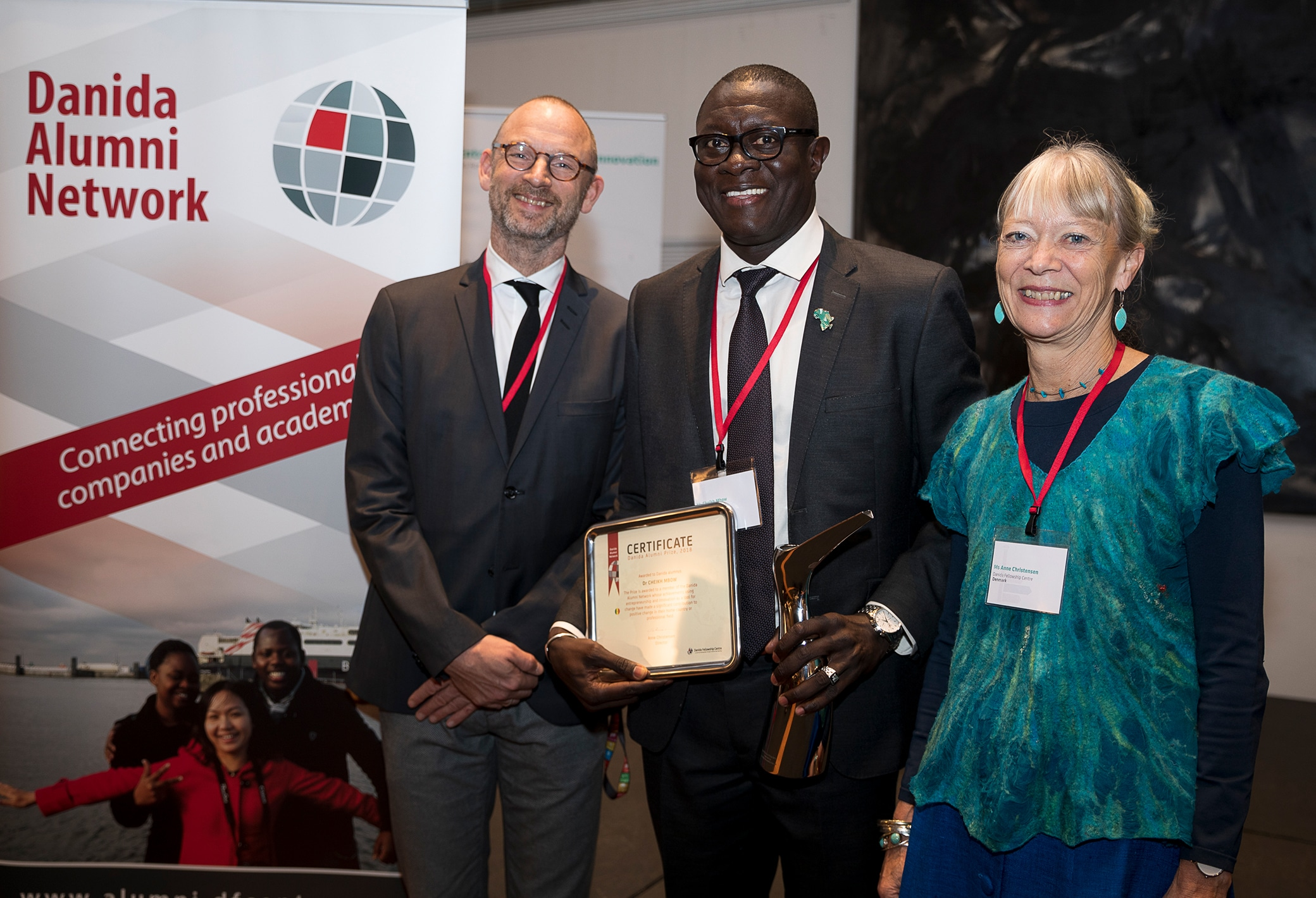 Dr. Cheikh Mbow received the Danida Alumni Prize 2018 at a ceremony in Copenhagen 8 November. The prize was presented by Martin Bille Hermann, State Secretary for Development Policy, Ministry of Foreign Affairs of Denmark and Anne Christensen, Director Danida Fellowship Centre.