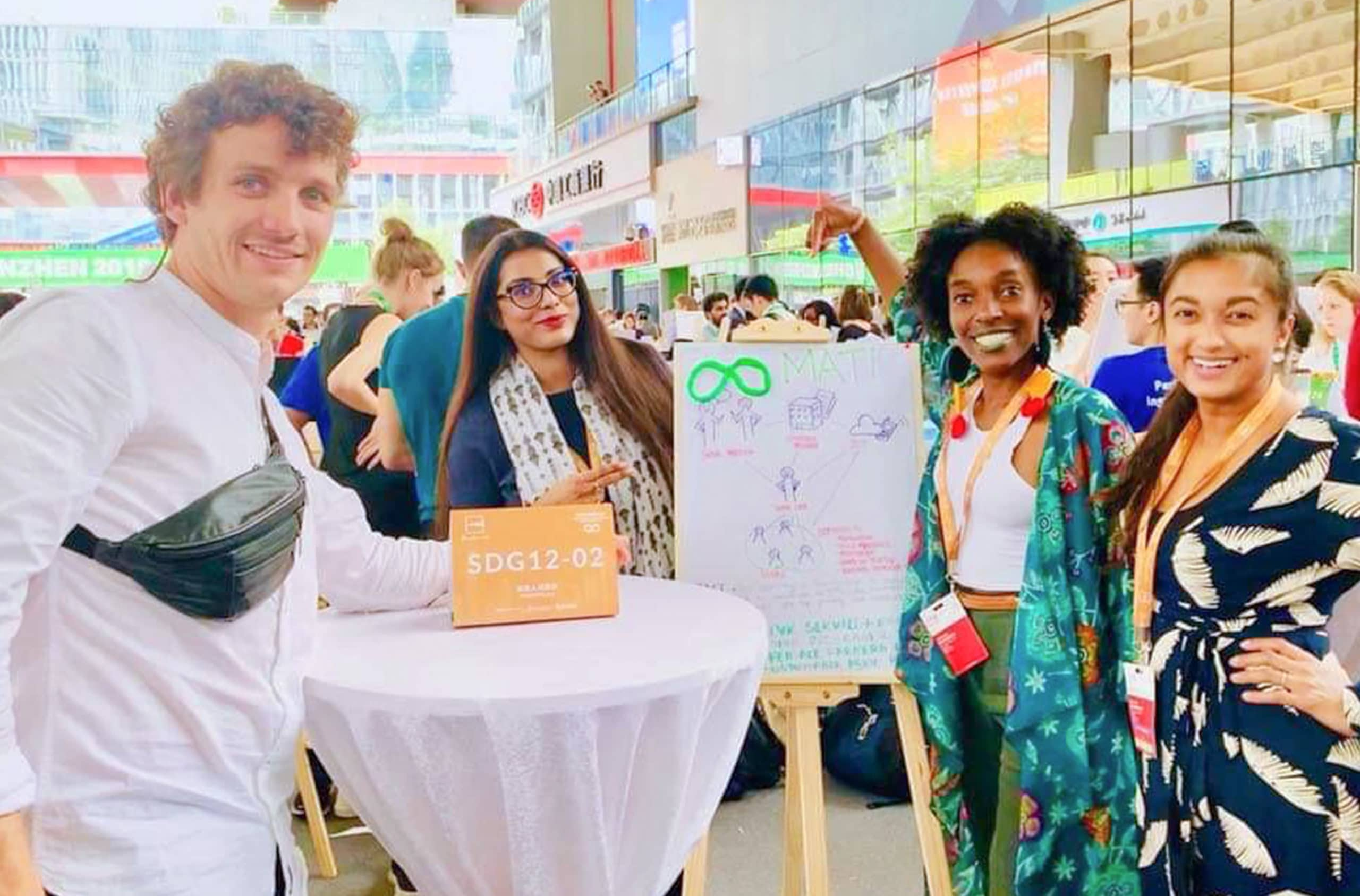 Rinita Rezwana, Bangladesh together with her group during UNLEASH 2019. Rinata's group worked on a solution to disseminate information about organic fertilizing techniques in rural Bangladesh. Photo: Courtesy of Rinita Rezwana.