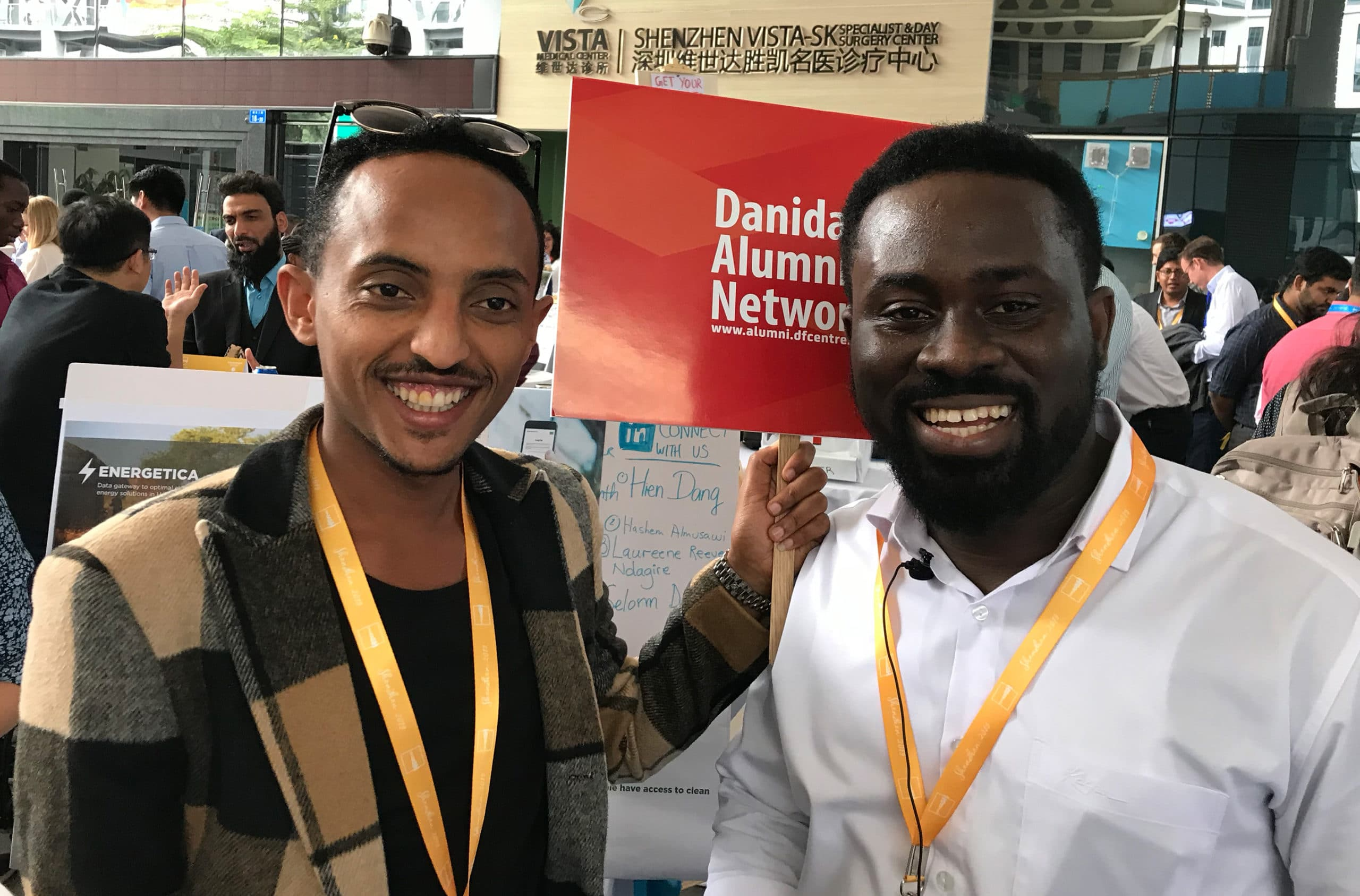 Olyad Hunduma Legesse, Ethiopia (left) and Selorm Yaotse Dorvlo (right) participated in UNLEASH 2019 in Shenzhen together with six other Danida alumni. Photo: Vibeke Quaade
